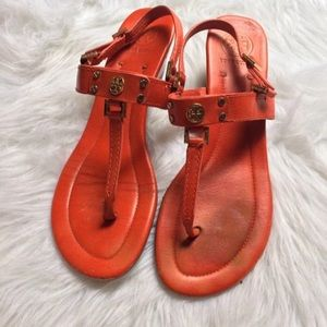 Tory Burch red wedge sandals size 11
